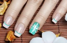 26 Adorable Bow Nail Art Designs and step-by-step tutorial: Blue Acrylic Nails White Bow Nail Art Design