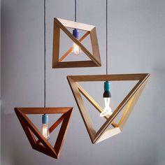 Retro American Bedroom Living Room Modern Minimalist Creative Cafe Village Triangle Wooden Chandelier