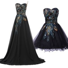 2015 Newest Short/Long Peacock Masquerade Evening Ball Gowns Party Prom Dresses