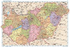 Large detailed map of Hungary with cities Drupal, Vintage World Maps, Politics, City, Image, Learning, Toys, Tattoos, Sea Level