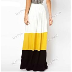 Patchwork Chinlon Casual Full-Length Pleated Skirts for Women Girl Ladies NWR-185694 TinyDeal  #mythanksgivingwishlist