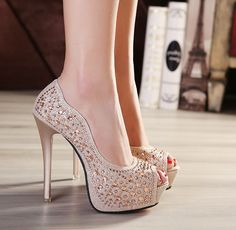 Womens Elegant Jewel Open Toe Stiletto High Heels