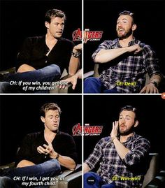 The thing is, Chris Evans is older than Chris Hemsworth