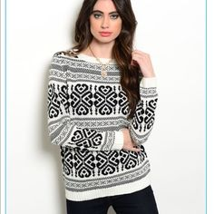 """HP-Best in retailThe perfect winter sweater The perfect black and white winter sweater!! Fabric Content: 100% ACRYLIC Description: L: 25"""" B: 36"""" W: 36"""" S-M-L available! Do not purchase this listing one will be created for youNo tradesNo discounts unless bundledI offer 10% off 2 items or more!! Sweaters Crew & Scoop Necks"""