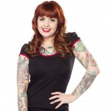 STEADY MINDY TOP BLACK/RED