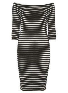 Black and White Long Sleeve Bardot Bodycon Dress