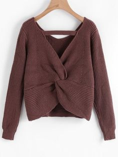 SHARE & Get it FREE | Cut Out Twisted Back Sweater - ChocolateFor Fashion Lovers only:80,000+ Items • New Arrivals Daily Join Zaful: Get YOUR $50 NOW!