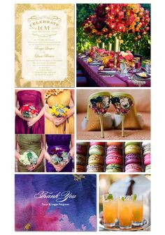 jewel tone wedding colors - teal, aqua, royal blue, fuschia