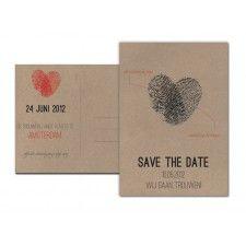 Trouwkaart: Vingerafdrukken II (Dubbel) - Wedding Designs