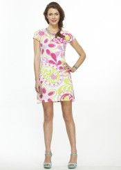 Paisley Garden Pink (13043) ~ Classic Crew Dress Front view