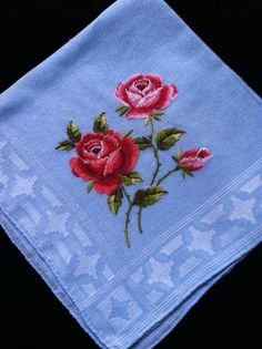 Swiss Forget Me Not Something Blue Bridal Handkerchief
