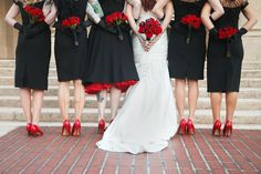 Bridal Party Black Bridesmaid Dresses, Red Shoes, Red Rose Wedding Bouquet - St. Pete Museum of Fine Arts Black & Red Halloween Themed Wedding - St. Petersburg, FL Wedding Photographer Carrie Wildes Photography