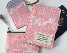 """Passport Cover, Luggage Tag, Change Purse, Travel Set in Patchwork with """"The world is a book and those who do not travel read only a page."""" -    Edit Listing  - Etsy"""