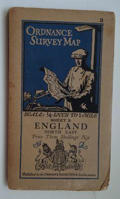 Vintage Ordnance Survey Map 1930s motorcycling