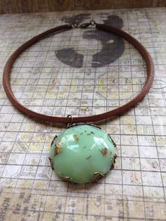 Handmade Jadeite colored Resin and Bronze Leaf by TCjewelrydesign