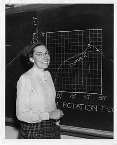 Mary Blade, standing at blackboard.  In 1946, when this photograph was taken, Mary Blade was  the only woman on the Cooper Union engineering faculty (where  she initially taught drawing, mathematics and design) and one of  few women on any engineering faculty in the United States.
