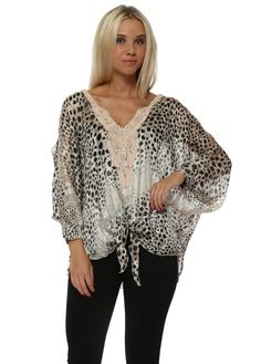 LAURIE & JOE Cheetah Print Chiffon Cold Shoulder Tie Top