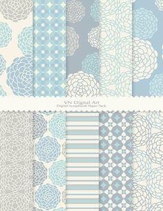 "Runde Blume Digital Scrapbook Papier Pack (8.5 x 11 ""-300 dpi)--Instant Download--10 Digital Papiere--436"