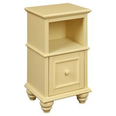 Wood side table in white with an open storage cubby and stacked bun feet. Awesome in the craft room Product: Side tableConstruction Material: WoodColor: Yellow Features: Stacked bun feetMolding detail One drawer Dimensions: H x W x D Parks Furniture, New Furniture, Painted Furniture, Refinished Furniture, Furniture Ideas, Bedroom Furniture, Yellow Nightstand, Yellow Side Table, Yellow Accents