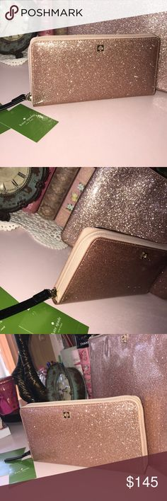 Kate Spade Rosegold Glitter Neda Wallet Kate Spade Rosegold Glitter Neda Wallet kate spade Bags Wallets