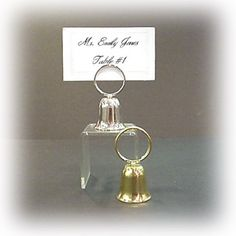 """Bell with Ring Placecard Holder (Set of 12)   Nuptial Knick Knacks    1 1/4"""" X 2 3/8""""  Available in Silver or Gold /   Sold in set of 12    Yes, The Bell Does Ring!"""