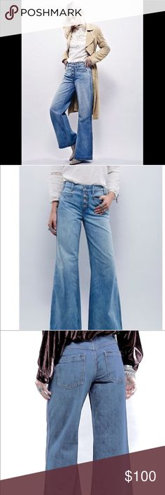 FREE PEOPLE wide  flare denim pants High rise wideleg jeans featuring an exposed button fly and distressed detailing on the cuffs. Four pocket style. 21018. Brand New never wore with out tags  Size: 30  ❤I have over 300 new with tag Free People & More items for sale! I love to offer bundle discounts!  ❤No trades. I know longer discuss pricing in comments. Please use offer button to submit offer! 😊 Free People Jeans Flare & Wide Leg