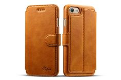 best Fashion iphone 7 plus Cases leather wallet Orange