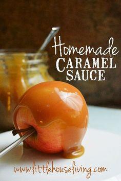 Easy Homemade Caramel Sauce | LittleHouseLiving.com | Easy Caramel Sauce. Recipe for easy homemade caramel sauce. Homemade caramel apple dip. All natural caramel sauce.