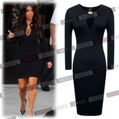 Celeb Womens Long Sleeve Bodycon Pencil Black Red Pencil Evening Party Dresses   eBay