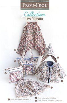 Fiches couture Frou-Frou. 1 offerte en boutique dés 15 euros d'achat. Collection de tissus Les Oiseaux