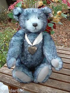 "Rare L.Ed Steiff 15"" Blue Tipped Forget-me-Not Teddy Bear EAN# 666001 Mohair"