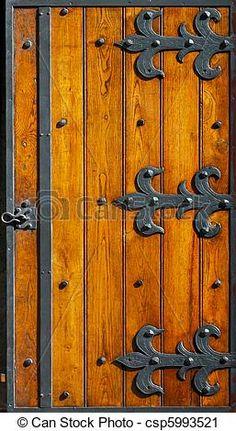 Very old ironwork hinges at wooden blinds. Wooden Gates, Wooden Doors, Door Hinges, Door Knockers, Medieval Door, Iron Gate Design, Blacksmith Projects, Cool Doors, Rustic Doors
