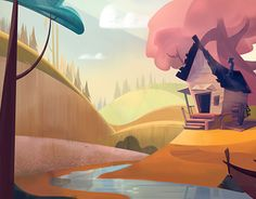 Forest Illustration, Plant Illustration, Landscape Illustration, People Illustration, Vector Illustrations, Cartoon Background, Animation Background, Environment Concept Art, Environment Design