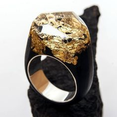 "Wooden Ring ""Golden Mountains"" with silver rim #greenwood #greenwoodring #magicrings #mountains #gold #SilverWood #silver"