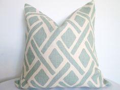 Designer Pillow Cover  Blue Geometric Design   Kravet by KLineDeco, $24.00