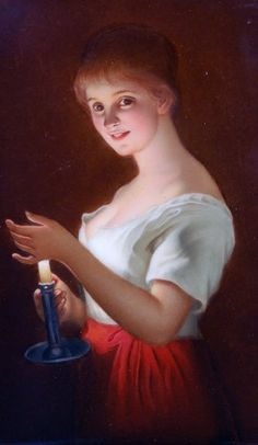 German porcelain ~ Woman holding candle