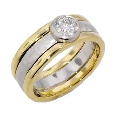 This is an awesome men's ring.  Although it is hard to see in this photo the platinum band has a hammered finish that is incredibly elegant.