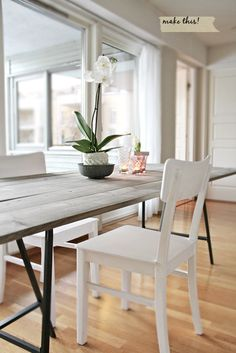 Diy dining room table with Ikea legs Diy Dining Room Table, Diy Dining Table, Rustic Table, Dining Rooms, Easy Table, Farmhouse Table, Wood Tables, Outdoor Dining, Deck Table