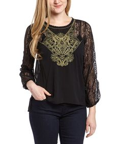 Another great find on #zulily! Black Lace Three-Quarter Sleeve Top #zulilyfinds