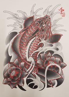 Dragon Koi Tattoo Design, Koi Dragon Tattoo, Japan Tattoo Design, Koi Fish Tattoo, Japanese Tattoo Art, Japanese Tattoo Designs, Lion Head Tattoos, Body Art Tattoos, Koi Tattoo Sleeve