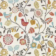 Clarke And Clarke Folki Spice Fabric F0990/05.CAC.0 Cotton Curtains, Curtain Fabric, Fabric Blinds, Clarke And Clarke Fabric, Made To Measure Curtains, French Cottage, Roman Blinds, Seat Pads, Bird Design