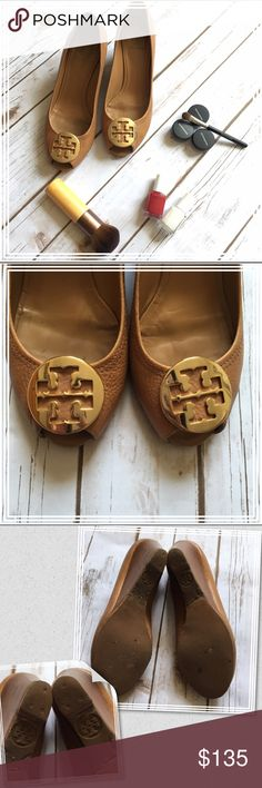 """Tory Burch Sally 2 tan luggage peeptoe wedge pumps Authentic Tory Burch Sally 2 wedges in """"luggage"""" (tan) color. Newly re-soled ($40 worth of repair), some dark discoloration on the back and front of the toe box, as shown, but isn't visible when worn. Super comfortable to wear all day long! The re-sole covered up the size print, but I have the same one in black, which is a size 8. Tory Burch Shoes Wedges"""