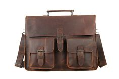 15''  Handcrafted Genuine Leather Briefcase by sunmarkstudio