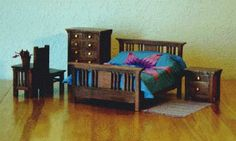 Mission Style - Bedroom Furniture - Includes Table and Chair - DIY - Alice's Dollhouse Page