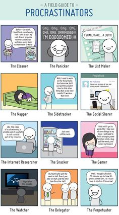 Procrastination... almost all of these describe me exactly... the panicker/ listmaker/ napper/ internet researcher/ snacker/ watcher/ and perpetuator, lol