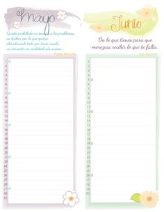 Calendarios mensuales para descargar e imprimir. Organiza tus días con estos hermosos diseños.