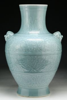 A Chinese Antique Blue Glazed Porcelain Vase: signed 'QIANLONG' on the base in cobalt blue, of Qing Dynasty; Size: H: 14-3/4""