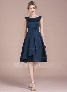 A-Line/Princess Scoop Neck Knee-Length Cascading Ruffles Zipper Up Cap Straps Sleeveless No Dark Navy Spring Summer Fall Winter General Plus Satin Bridesmaid Dress