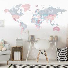 Vinilo decorativo mapamundi político en tonos grises y rosas Home Room Design, Dream Rooms, My New Room, Interior Design Living Room, Decoration, Room Inspiration, Kids Room, Sweet Home, Bedroom Decor