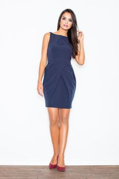 Dark Blue Sleeveless Coctail Chic Dress LAVELIQ